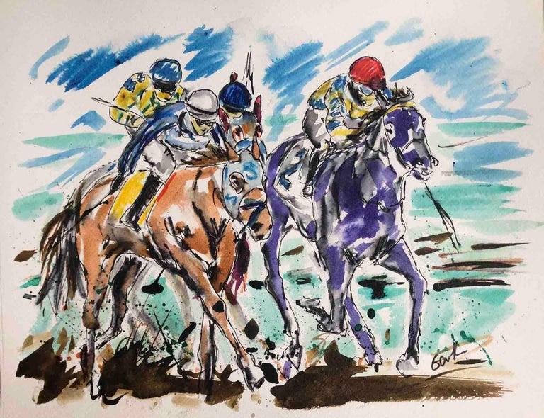 Garth Bayley, Anyone's Race, Original Horse Racing Painting, Contemporary Art - Gray Animal Painting by Garth Bayley