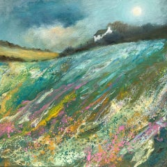 Cathryn Jeff, Pastel Meadow, Original Landscape Painting, Bright Affordable Art
