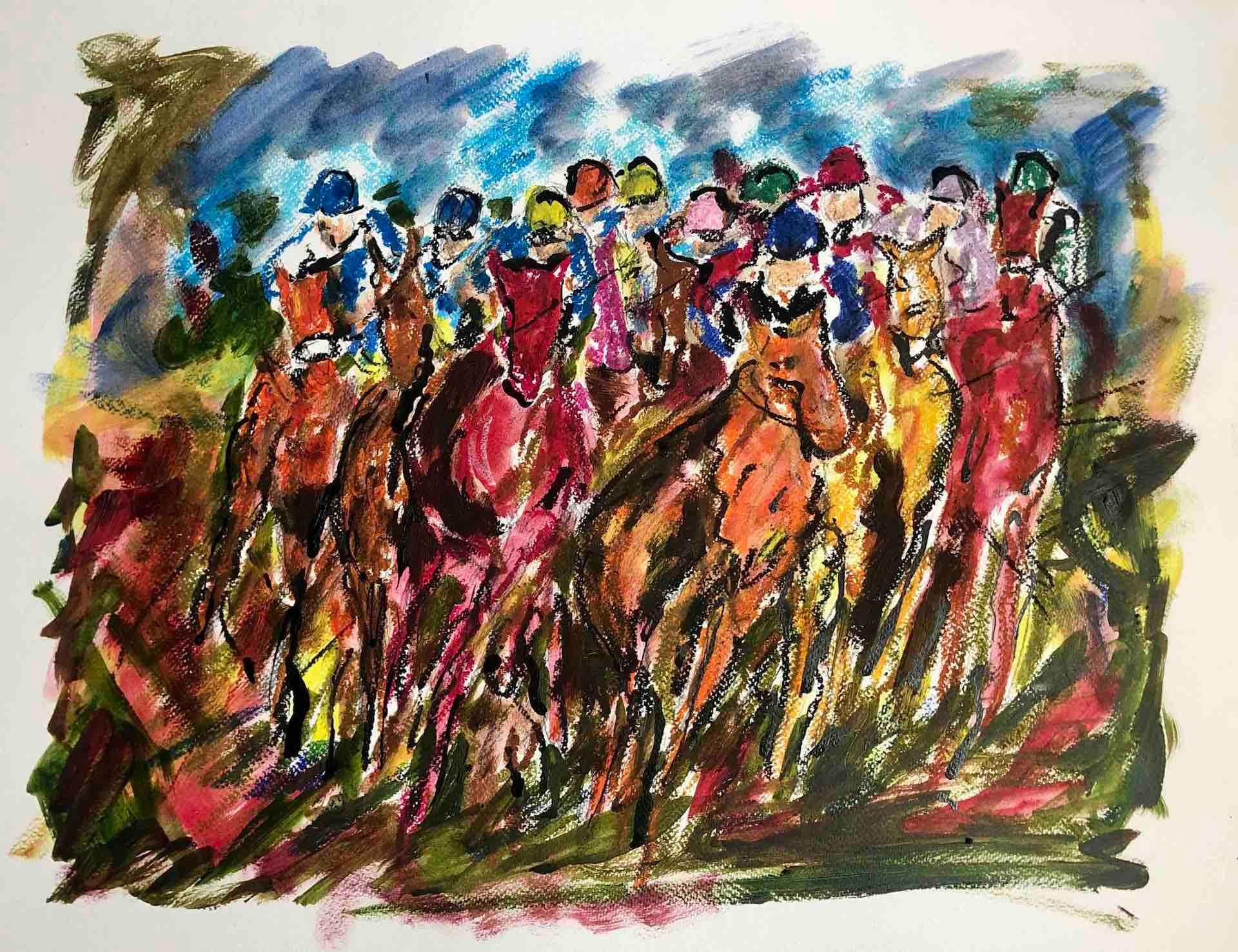 Garth Bayley, Full on Gallop, Original Impressionist Horse Painting, Equine Art