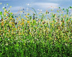 Lucy Moore, Daffodil Splash Meadow, Original Contemporary Art, Bright Painting