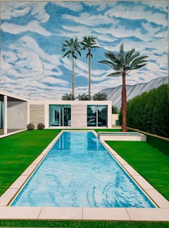 Karen Lynn, Cloud Pool, Contemporary Painting in the Style of David Hockney