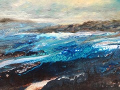 Cathryn Jeff, Sea Swell, Original Mixed Media Painting, Sea Scape, Cornwall Art