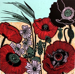 Kate Heiss, Wild Poppies, Limited Edition Linocut, Poppy Art