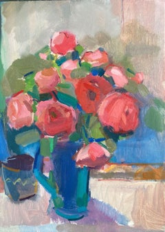 Rosie Copeland, Red Roses, Blue Jug, Original Still Life Painting,