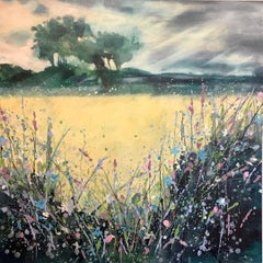 Adele Riley, Meadow Confetti, Original Landscape Painting, Affordable Art