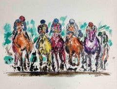 Garth Bayley, Thunder, Original Equine Painting, Contemporary Animal Sports Art