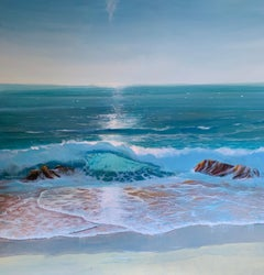 Carolyn Tryer, Dancing Waves, Bright Contemporary Seascape Painting