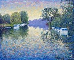 Lee Tiller, Swansong - Streatley on Thames, Original Impressionist Landscape Art