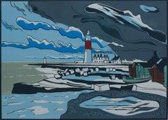 Colin Moore, Portland Bill, Linocut Print, Affordable Art