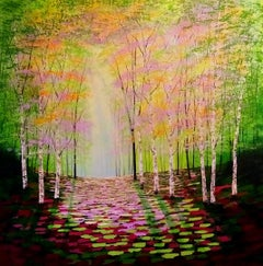 Amanda Horvath, Rose and Golden Wood, Original Painting, Contemporary Art Online