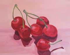 Sarah Adams, Home Grown Cherries 1, Original Acrylic Painting, Affordable Art