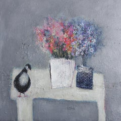 Lisa House, Flower Bird, Original Still Life Painting, Affordable Art
