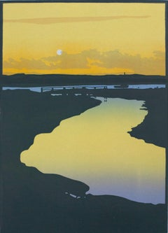 Colin Moore, Summer Sunrise Limited Edition Linocut Print, Affordable Art