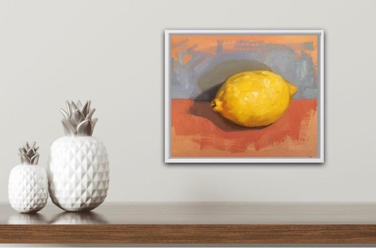 Benedict Flanagan Lemon Original Still Life Painting Oil Paint on Board Board Size: H 20cm x W 25cm x D 0.5cm Sold Unframed Please note that in situ images are purely an indication of how a piece may look.  Lemon is a still life painting by Benedict