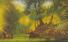 Mark A Pearce, Olive Grove with Deer, Landscape Art, Affordable Art Online