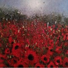 Lisa House, Poppy Fields, Original Landscape Painting, Affordable Art