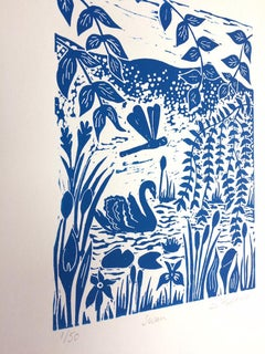 Joanna Hadfield, Swan, Limited Edition Linocut Print, Affordable Art