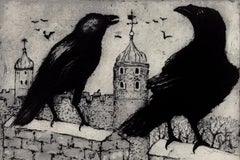 Tim Southall, Ravens at the Tower, Etching, Affordable Art, Art Online