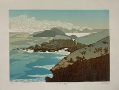 Ian Phillips, Cliff Edge, Limited Edition Linocut Print, Seascape Art