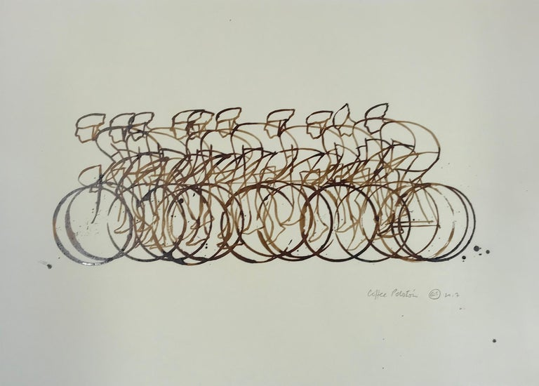 Eliza Southwood, Coffee Peleton, Cycle Art, Affordable Art, Art Online - Gray Figurative Art by Eliza Southwood