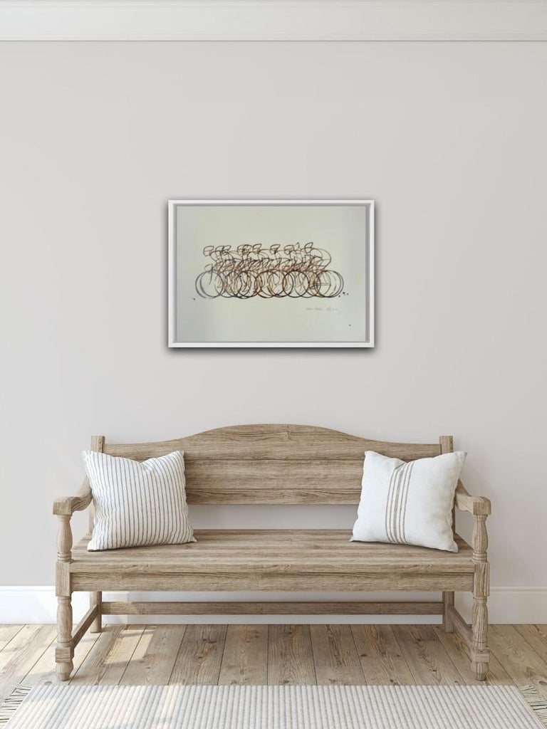 Eliza Southwood Coffee Peleton Original work Image Size: H 42cm x W 60cm Signed Sold Unframed Coffee Peloton is an A3 sized piece depicting a full peloton of cyclists travelling at speed painted on high-quality 250gsm ivory paper is signed and dated