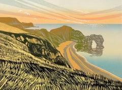 Rob Barnes, Durdle Door, Limited Edition Linocut Print, Landscape Art