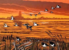 Rob Barnes, Riverside Oystercatchers, Limited Edition Print, Affordable Art