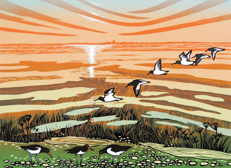 Rob Barnes, Saltmarsh at Low Tide, Limited Edition Linocut Print, Affordable Art