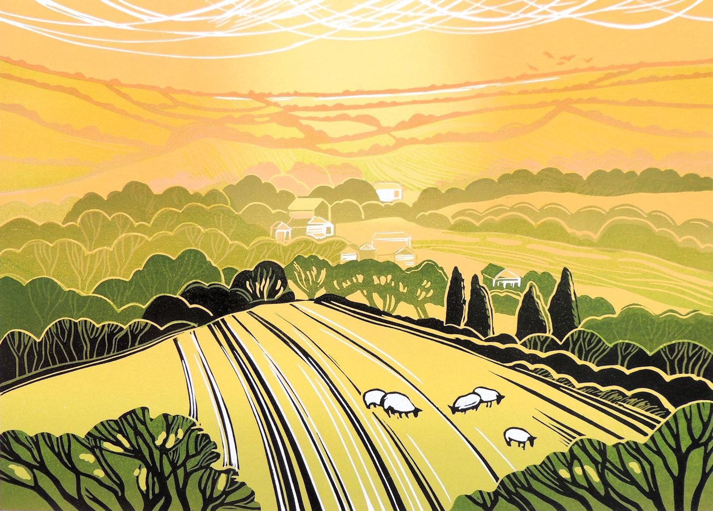 Rob Barnes, Summer Evening, Limited Edition Linocut Print, Landscape Art
