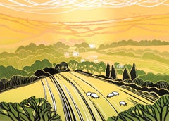 Rob Barnes, Summer Evening, Limited Edition Linocut Print, Landscape Art
