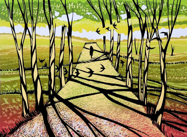 Rob Barnes, Tree Shadows, Limited Edition Print, Affordable Art, Landscape Art