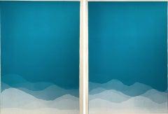 Matt Jukes, Cloudbusting, Unique Abstract Monoprint Diptych, Abstract Art