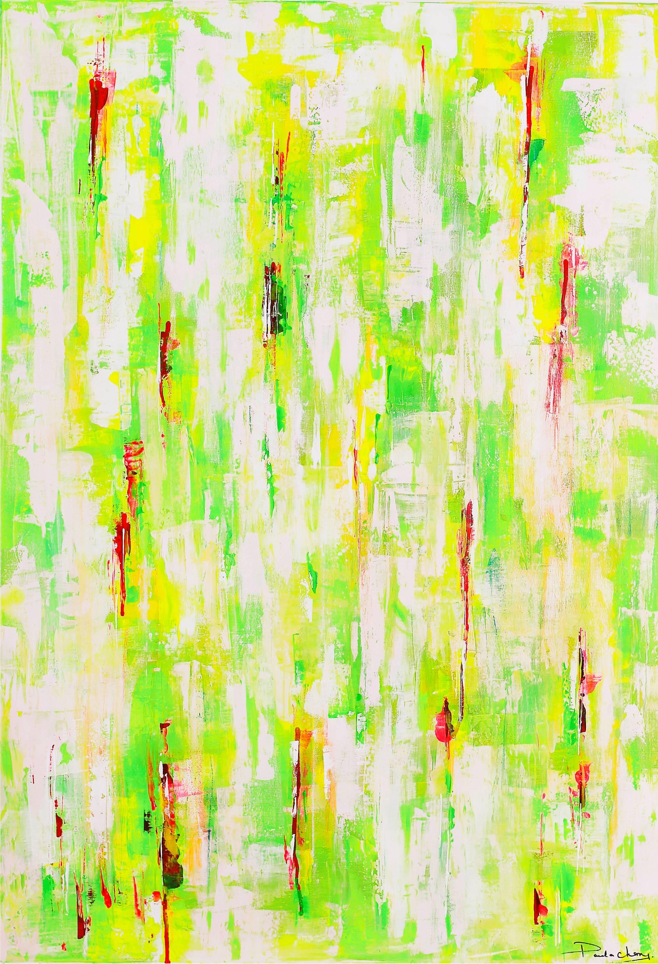 Paula Cherry, Lush Green, Original Painting, Abstract Art, Affordable Art