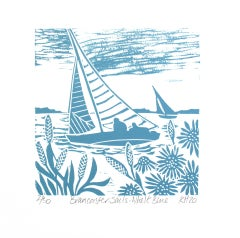 Kate Heiss, Brancaster Sails -Whelk Blue series, Affordable Art, Art Online