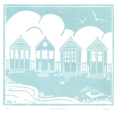 Fiona Carver, Four Beach Huts, Limited Edition Linocut Print, Beach Art