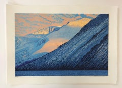 Mark  Pearce, Sun on the Scafells, Limited Edition Linoprint, Lake District Art