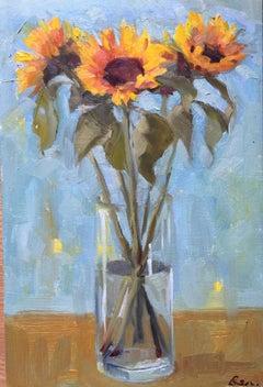 Benedict Flanagan, Sunflower, Original Still Life Painting, Affordable Art