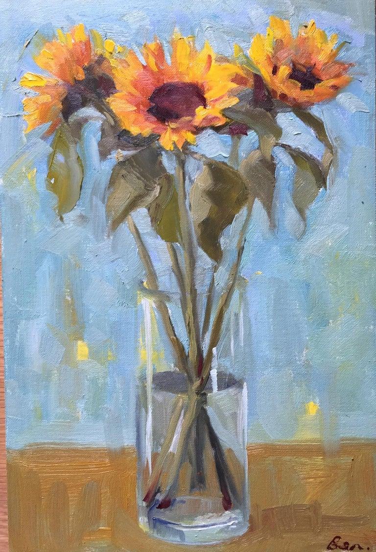 Benedict Flanagan, Sunflower, Original Still Life Painting, Affordable Art - Gray Interior Painting by Benedict Flanagan