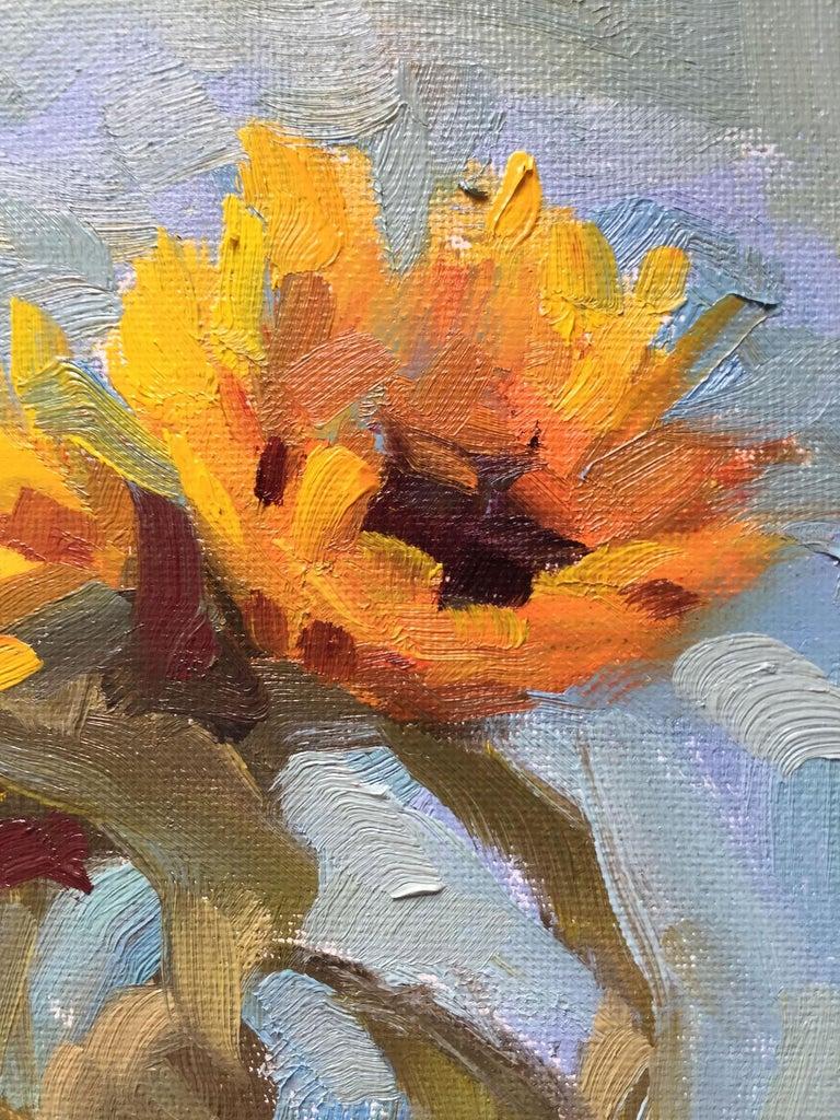 Benedict Flanagan, Sunflower, Original Still Life Painting, Affordable Art For Sale 2