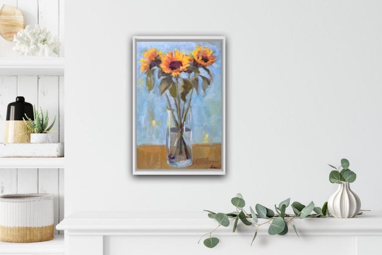 Benedict Flanagan Sunflower Original Still Life Painting Oil Paint on Board Board Size: H 20cm x W 25cm x D 0.5cm Sold Unframed Please note that in situ images are purely an indication of how a piece may look.  Sunflowers is a still life painting by