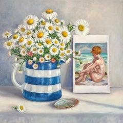 Marie Robinson, Fresh as a Daisy, Original Still Life Painting, Affordable Art