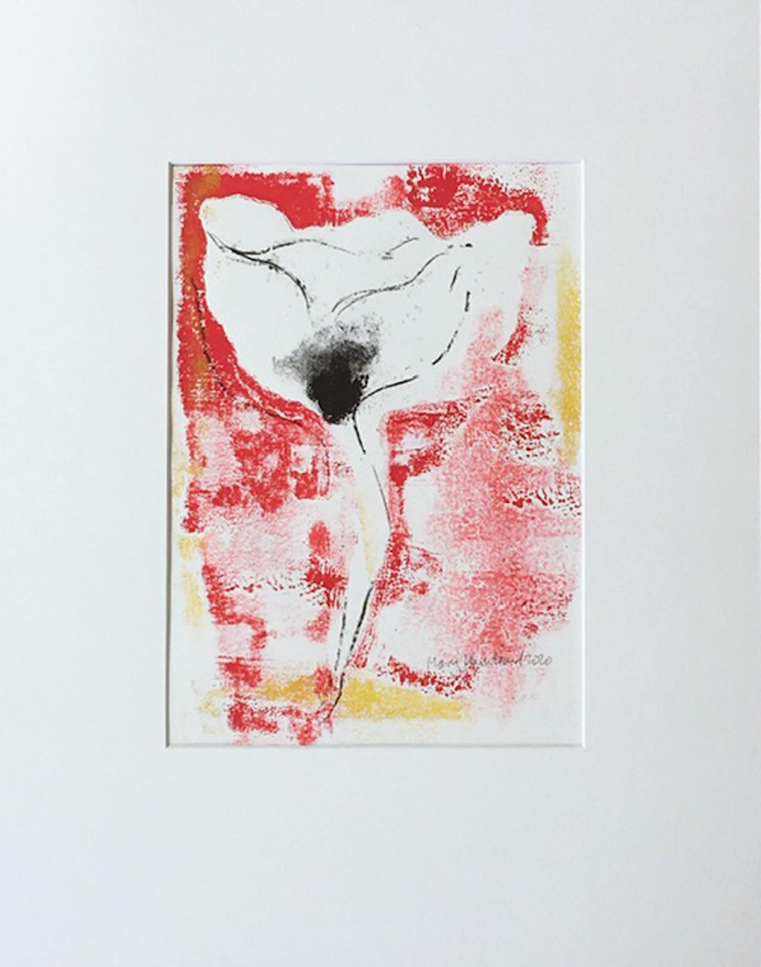 Mary Knowland, Poppy 18, Monoprint, Affordable Art, Flower Art, Art Online