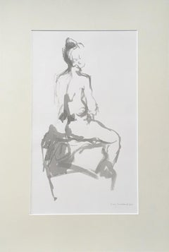 Mary Knowland, Seated, Original Nude Drawing, Figurative Art, Art Online