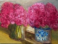 Henrietta Caledon, Pink Roses, Original Still Life Painting, Affordable Art
