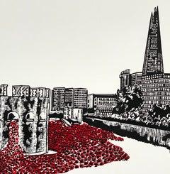 Jennifer Jokhoo, Tower of London – Red Sea Variation, London Art, Affordable Art