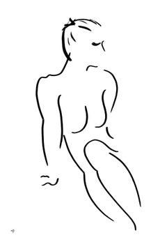 David Jones, Series 7 No.17J, Original Minimalist Drawing, Nude Drawing