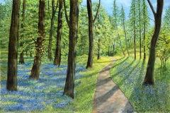 Jane Peart, Bluebell Woods, Original Painting, Woodland Art, Landscape Art