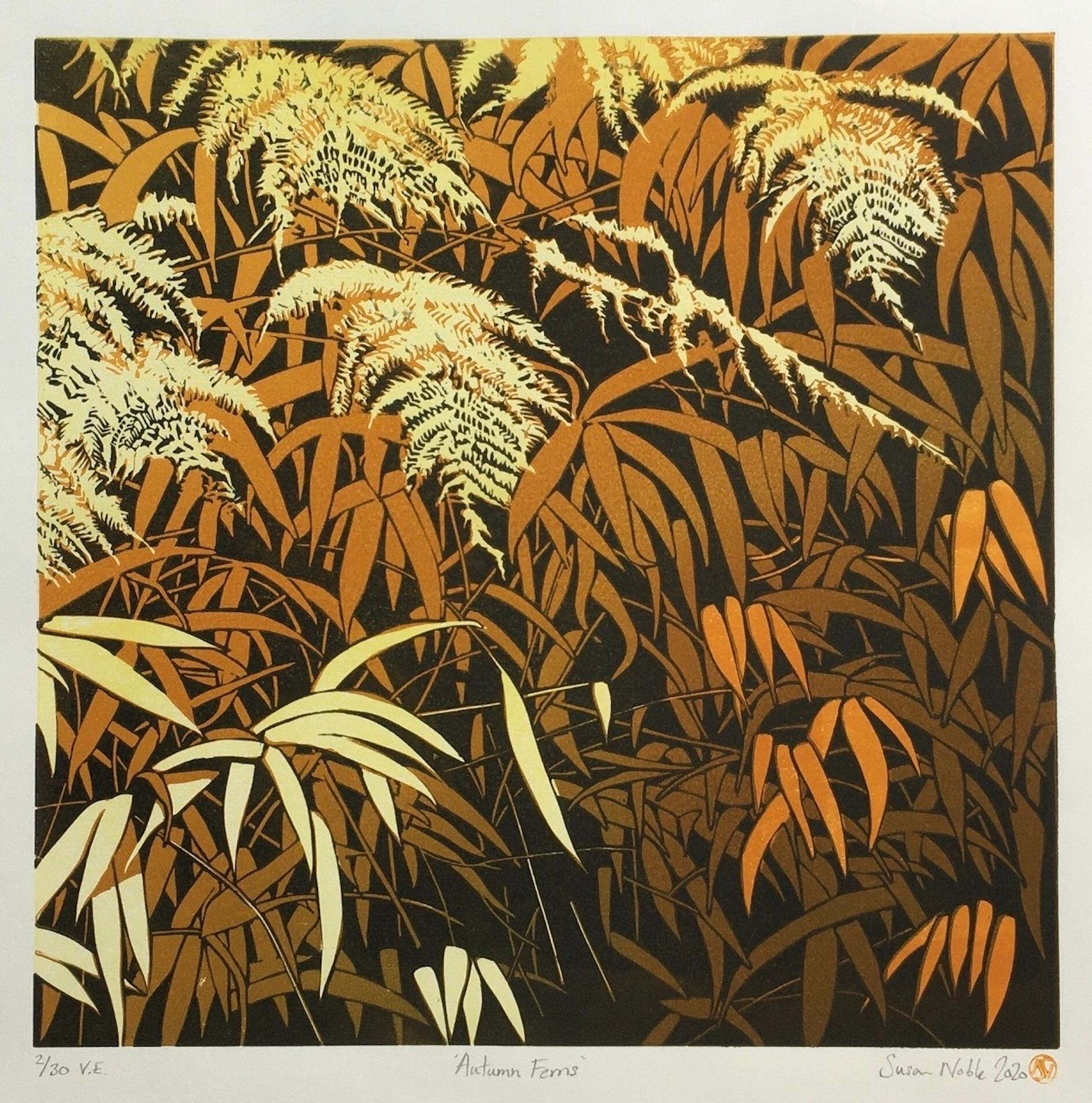 Susan Noble, Autumn Ferns, Limited Edition Print, Affordable Art, Nature Art