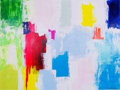 Paula Cherry, Albury Fields, Original Abstract Landscape Painting, Art Online