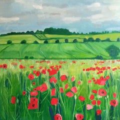 Eleanor Woolley, Polka Dot Poppies, Original Landscape Painting, Affordable Art